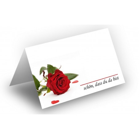 Wunderschöne Tischkarte (Rose mit Herzen) UV-Lack glänzend -