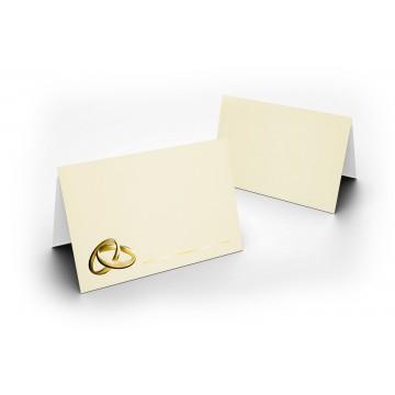 1-Wunderschöne Hochzeit Tischkarte Zart Creme mit Ringen Gold glänzend - für Hochzeit, liebevolle ! Format 8,5 x 11,2 cm
