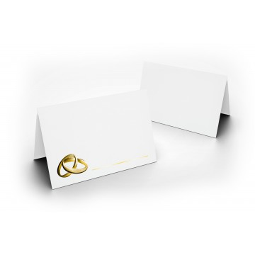 1-Wunderschöne Hochzeit Tischkarte Weiß mit Ringen Gold glänzend - für Hochzeit, liebevolle ! Format 8,5 x 11,2 cm