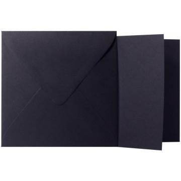 1 Briefumschlag Schwarz Größe 16 X 16 cm 120g + Klappkarte 300g Größe 15,5 X 15,5 cm,