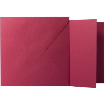 1 Briefumschlag Bordeaux  Größe 14 X 14 cm 120g + Klappkarte 300g Größe 13,5 X 13,5 cm,
