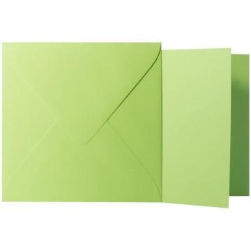 1 Briefumschlag Hell Grün  Größe 14 X 14 cm 120g + Klappkarte 300g Größe 13,5 X 13,5 cm,