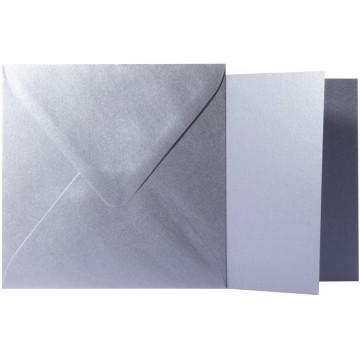 1 Briefumschlag Silber Metallic Größe 14 X 14 cm 120g + Klappkarte 300g Größe 13,5 X 13,5 cm,