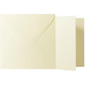 1 Briefumschlag Zart Creme Größe 13 X 13 cm 120g + Klappkarte 300g Größe 12,5 X 12,5 cm,