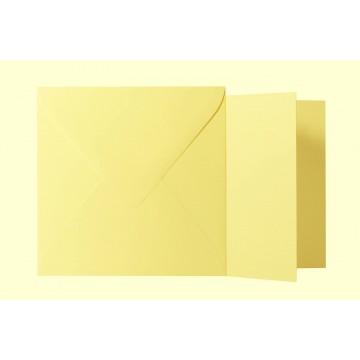 1 Briefumschlag Hell Gelb  Größe 13 X 13 cm 120g + Klappkarte 300g Größe 12,5 X 12,5 cm,