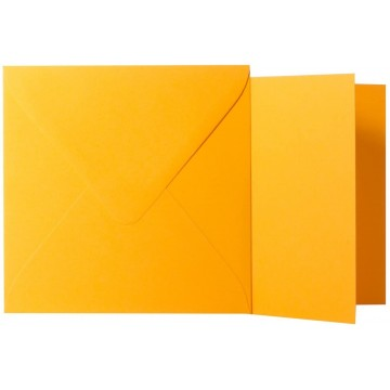 1 Briefumschlag Orange  Größe 13 X 13 cm 120g + Klappkarte 300g Größe 12,5 X 12,5 cm,