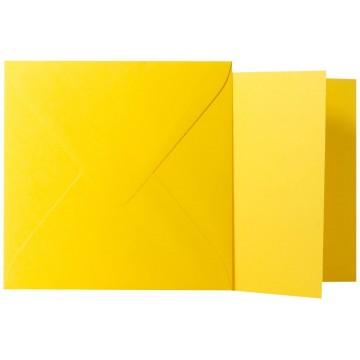 1 Briefumschlag Intensiv Gelb  Größe 13 X 13 cm 120g + Klappkarte 300g Größe 12,5 X 12,5 cm,