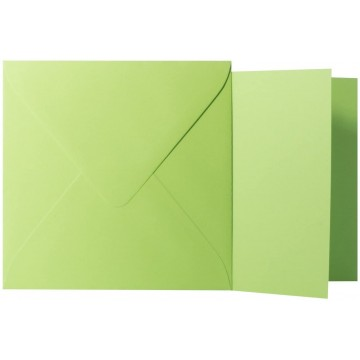 1 Briefumschlag Hell Grün Größe 11 X 11 cm 120g + Klappkarte 300g Größe 10,5 X 10,5 cm,