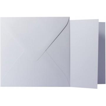 1 Briefumschlag Hell Grau Größe 11 X 11 cm 120g + Klappkarte 300g Größe 10,5 X 10,5 cm,