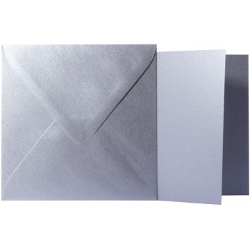 1 Briefumschlag Silber Metallic Größe 11 X 11 cm 120g + Klappkarte 300g Größe 10,5 X 10,5 cm,