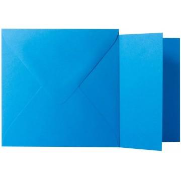 1 Briefumschlag Ozean Blau Größe 10 X 10 cm 120g + Klappkarte 300g Größe 9,5 X 9,5 cm,