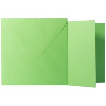 1 Briefumschlag Gras Grün Größe 10 X 10 cm 120g + Klappkarte 300g Größe 9,5 X 9,5 cm,