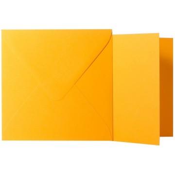 1 Briefumschlag Orange Größe 10 X 10 cm 120g + Klappkarte 300g Größe 9,5 X 9,5 cm,
