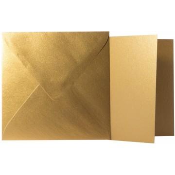1 Briefumschlag Gold Metallic Größe 10 X 10 cm 120g + Klappkarte 300g Größe 9,5 X 9,5 cm,