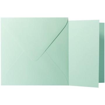 1 Briefumschlag Minze Größe 14 X 14 cm 120g + Klappkarte 300g Größe 13,5 X 13,5 cm,