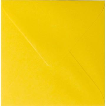 1- Briefumschlag 14,5 x 14,5 cm 145 x 145 mm Intensiv Gelb gerippt mit Innenfutter ( Weiß ) Verschluss: feuchtklebend  100 g/m²