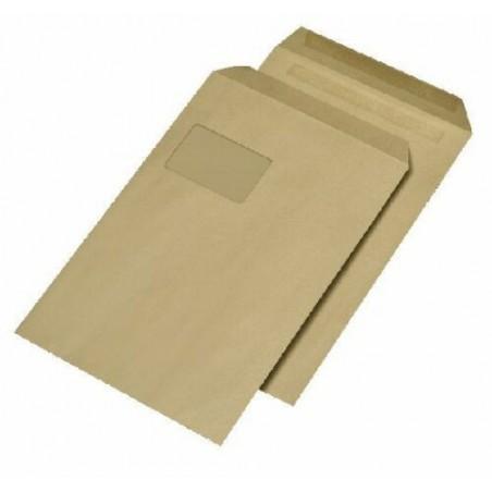1 Versandtasche Braun DIN C4 120 g/m² - 229 x 324 mm 22,9 x 32,4 cm - selbstklebend mit Abziehstreifen - mit Fenster
