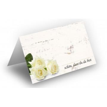 Wunderschöne Tischkarten (Rosenstrauß-Weiß-Holz-Hintergrund) UV-Lack glänzend