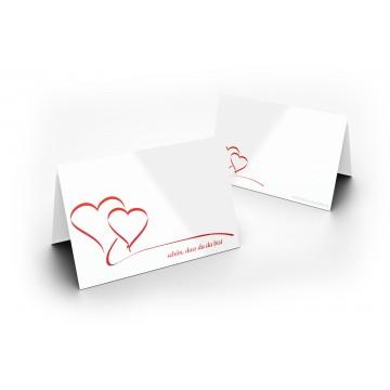 25 Wunderschöne Tischkarten (Herzen) UV-Lack glänzend - für Hochzeit, Geburtstag