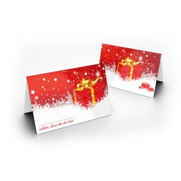 25 Wunderschöne Weihnachts Tischkarten (Weihnachtspäckchen) UV-Lack glänzend - für Hochzeit, Geburtstag,
