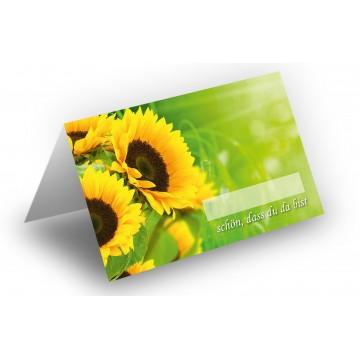 25 Wunderschöne Tischkarten (Sonnenblumen) UV-Lack glänzend - für Hochzeit, Geburtstag,