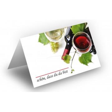 25 Wunderschöne Tischkarten (Wein u. Trauben) UV-Lack glänzend - für Hochzeit, Geburtstag,