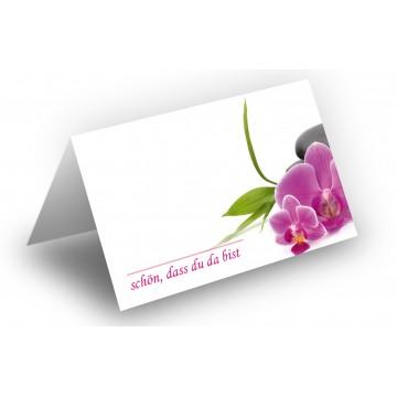 25 Wunderschöne Tischkarten (Orchideen zartrosa) UV-Lack glänzend - für Hochzeit, Geburtstag,