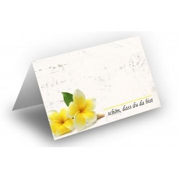 25 Wunderschöne Tischkarten (Frangipani-Gelb, Holz-Hintergrund) UV-Lack glänzend - für Hochzeit, Geburtstag,