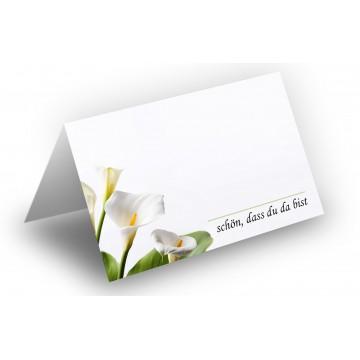 25 Wunderschöne Tischkarten (Calla) UV-Lack glänzend - für Hochzeit, Geburtstag,