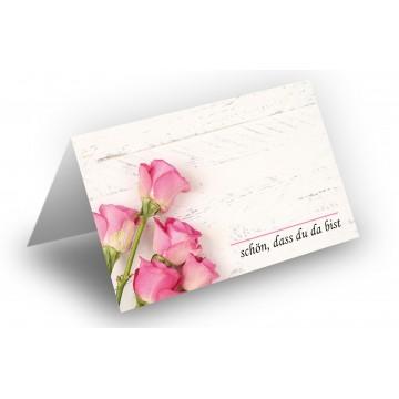25 Wunderschöne Tischkarten (Rosenstrauß-Rosa-Holz-Hintergrund) UV-Lack glänzend - für Hochzeit, Geburtstag,