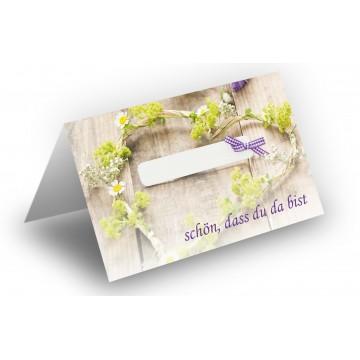 25 Wunderschöne Tischkarten (Grün mit Schleife) UV-Lack glänzend - für Hochzeit, Geburtstag,