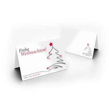 Wunderschöne Weihnachts Tischkarten (Weihnachtsbaum) UV-Lack glänzend - für Hochzeit, Geburtstag,