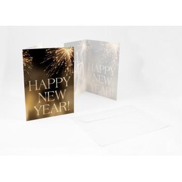 """Wunderschöne Silvesterkarten + Umschlag Neujahrsgrüße HAPPY NEW YEAR!"""""""", A6,"""