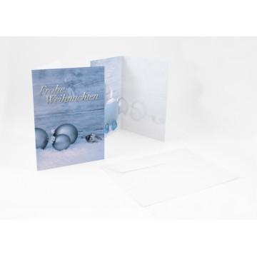 """Wunderschöne Weihnachtskarten + Umschlag Frohe Weihnachten mit Weihnachtskugeln und Kerzen """""""", A6,"""