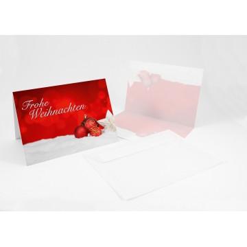 """Wunderschöne Weihnachtskarten + Umschlag """"Frohe Weihnachten mit Weihnachtskugeln"""", A6,"""