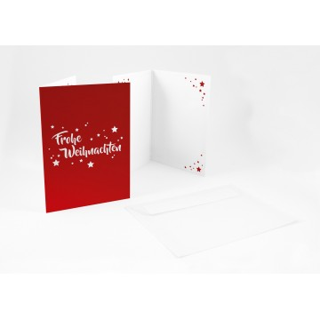 """Wunderschöne Weihnachtskarten + Umschlag """"Frohe Weihnachten mit Sternen"""", A6,"""