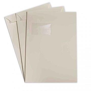 Versandtaschen DIN C4 Zart Creme 120 g/m² - 229 x 324 mm 22,9 x 32,4 cm - selbstklebend mit Abziehstreifen - mit Fenster