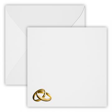 Hochzeit Ringe Gold Briefumschläge 15 x 15 cm 150 x 150 mm Weiß Verschluss: feuchtklebend