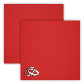 Hochzeit Ringe Silber Briefumschläge 15 x 15 cm 150 x 150 mm Rot Verschluss: feuchtklebend