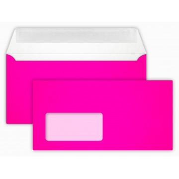 Briefumschläge NEON Pink Din lang 11 x 22 cm mit Haftstreifen,mit Fenster