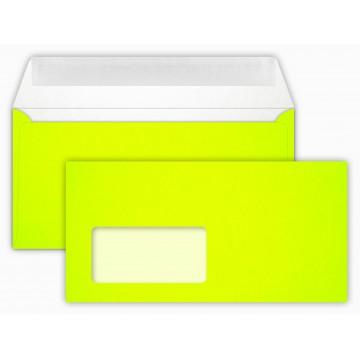 Briefumschläge NEON Yellow Din lang 11 x 22 cm mit Haftstreifen,mit Fenster