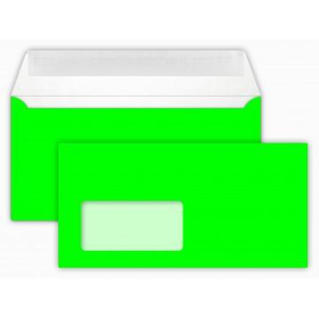 Briefumschläge NEON Green Din lang 11 x 22 cm mit Haftstreifen,mit Fenster