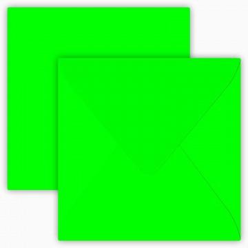 1 Briefumschlag 12,5 x 12,5 cm 125 x 125 mm Neon Grün Verschluss: feuchtklebend