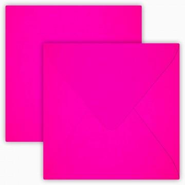 1 Briefumschläge 15,0 x 15,0 cm 150 x 150 mm Neon Pink Verschluss: feuchtklebend