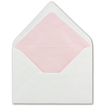 1-Weiße Briefumschlag Rosa gefüttert |  | DIN B6 Format 125 x 176 mm | mit farbigem Seidenfutter