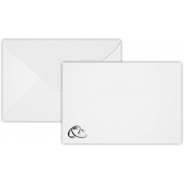 1-Hochzeit Ringe Silber Briefumschläge B6 DIN (12,5 x 17,6 cm) Superweiß, : Feuchtklebend mit Dreieck Lasche ! Grammatur: 120 g/