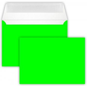 1-Briefumschlag C6 DIN (114-162 cm) - Neon Grün, Verschluss-Technik: Querlasche mit Abziehstreifen ! Grammatur: 90 g/m²