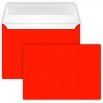 1-Briefumschlag C6 DIN (114-162 cm) - Neon Rot, Verschluss-Technik: Querlasche mit Abziehstreifen ! Grammatur: 90 g/m²