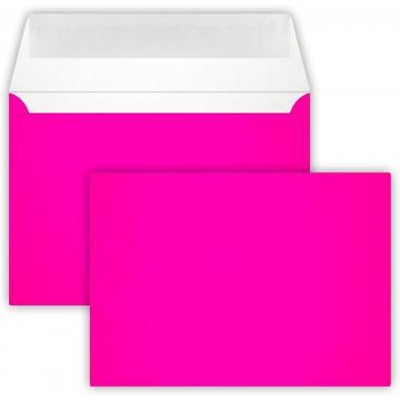 1-Briefumschlag C6 DIN (114-162 cm) - Neon Pink, Verschluss-Technik: Querlasche mit Abziehstreifen ! Grammatur: 90 g/m²