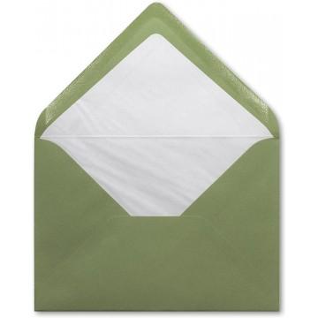 1 Briefumschlag B6 DIN (12,5 x 17,6 cm) Olivgrün, mit dreieckiger Lasche zum Kleben ohne Fenster mit Innenfutter Weiß!
